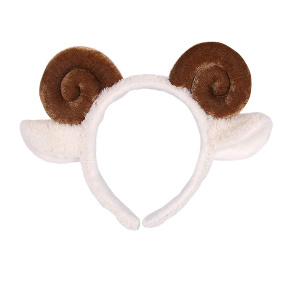 Amosfun Plush Animal Ears Headband Shofar Sheep Horn Hair Bands Hair Hoops Headwear For New Year Valentine Costumes Cosplay (Coffee)