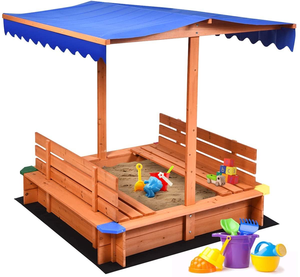 Costzon Kids Wooden Sandbox with Canopy, Cedar Square Cabana Sandbox with 2 Bench Seats, Non-Woven Fabric Cloth, Children Outdoor Playset for Backyard, Home, Lawn, Garden, Beach