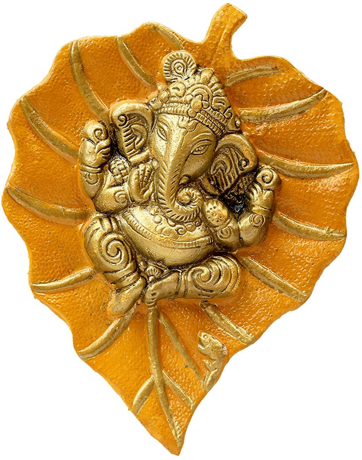Charmy Crafts Metal Ganesha On Leaf, Wall Hanging Article for Wall Decor, Wedding Gifts, Best for Housewarming, Room Decor (Mustard Yellow)