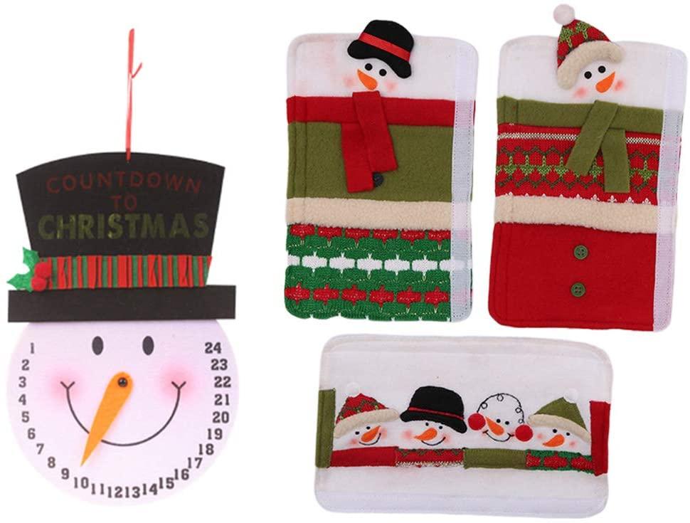 chefensty 1 Set, Snowman Kitchen Appliance Refrigerator Handle Door Covers & Snowman Advent Calendar - Christmas Decoration Idea