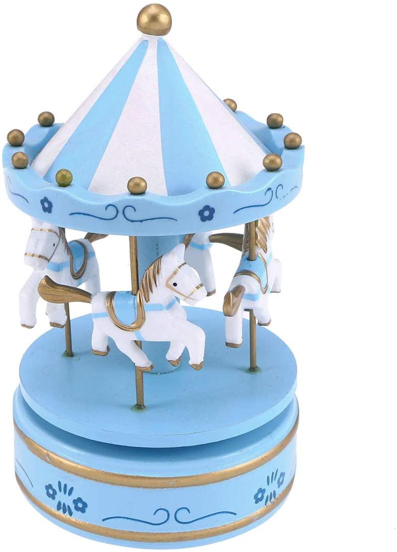 STOBOK Carousel Music Box Luxury Rotating Horse Musical Box Desktop Decoration for Girl (Blue)
