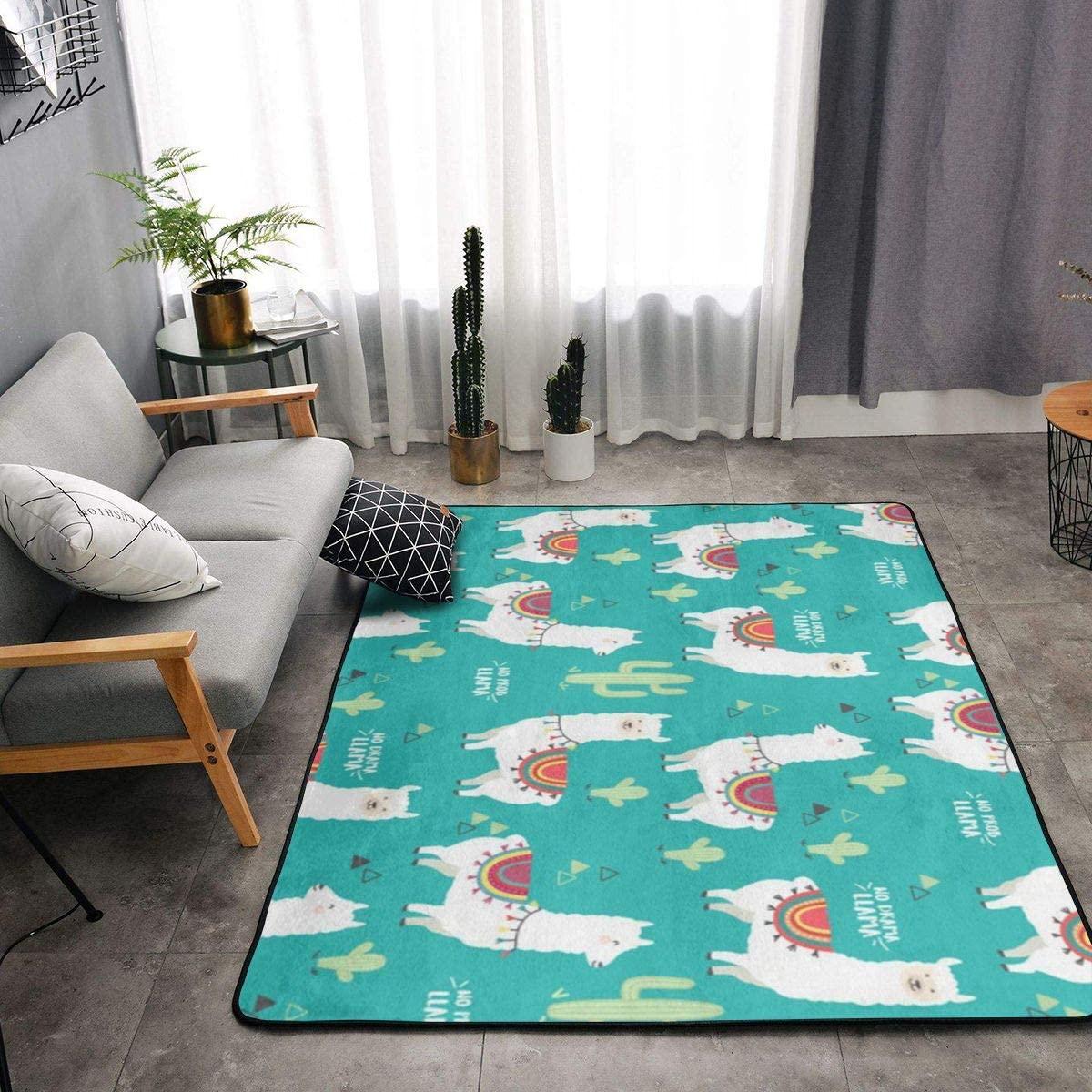 Area Rug Soft Fluffy Carpet for Bedroom Kids Teens Room, Modern Floor Mat Oversize Door Mat Plush Nursery Rugs for Boys Girls 80x58 in,Llama Cactus Green