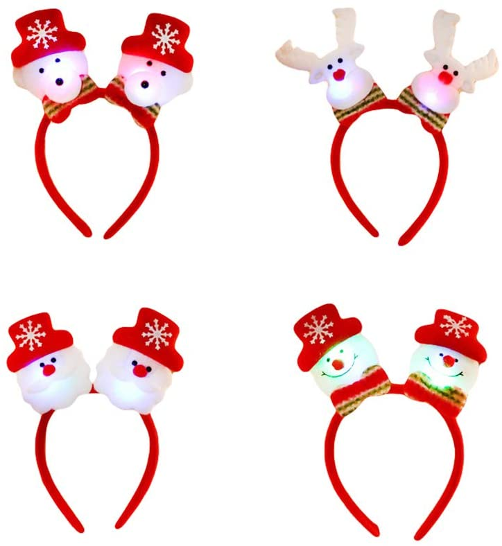 PRETYZOOM 4PCS Christmas Headbands with Boppers Luminous Hair Accessory Snowman and Elk Toppers Party Costume Favors (Double Head) Party Favor