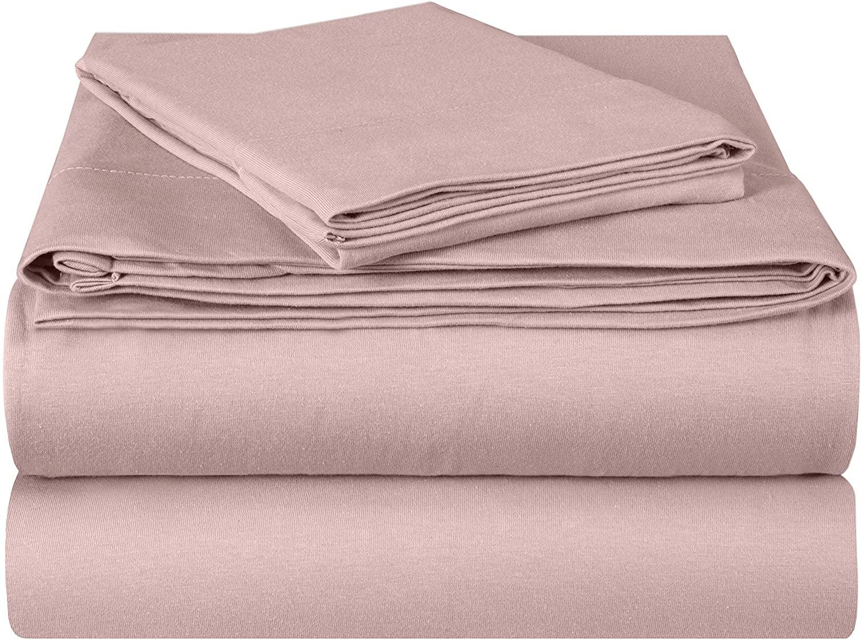 EnvioHome Quality Knit 100% Cotton Jersey Bed Sheet Set - 3 Piece - Twin XL, Light Pink