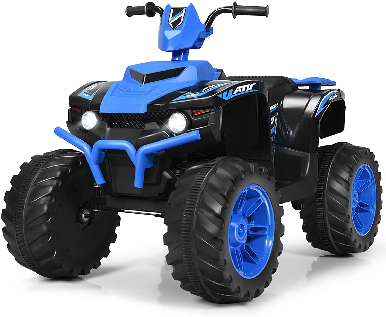 Costzon Ride on ATV, 12V Battery Powered Electric Vehicle w/ LED Lights, High &Low Speed, Horn, Bluetooth, Radio, USB, Rear Wheel Motorized Ride on 4 Wheeler Quad Car for Boys Girls (Blue)