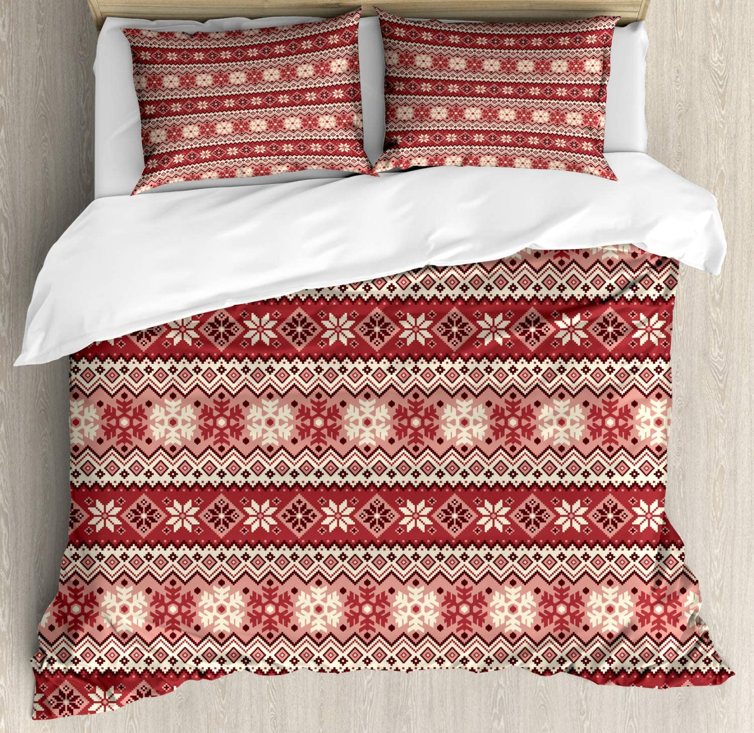 Ambesonne Nordic Duvet Cover Set, Ancestral Classic Scandinavian Geometric Pattern Christmas Snowflakes, Decorative 3 Piece Bedding Set with 2 Pillow Shams, Queen Size, Coral White