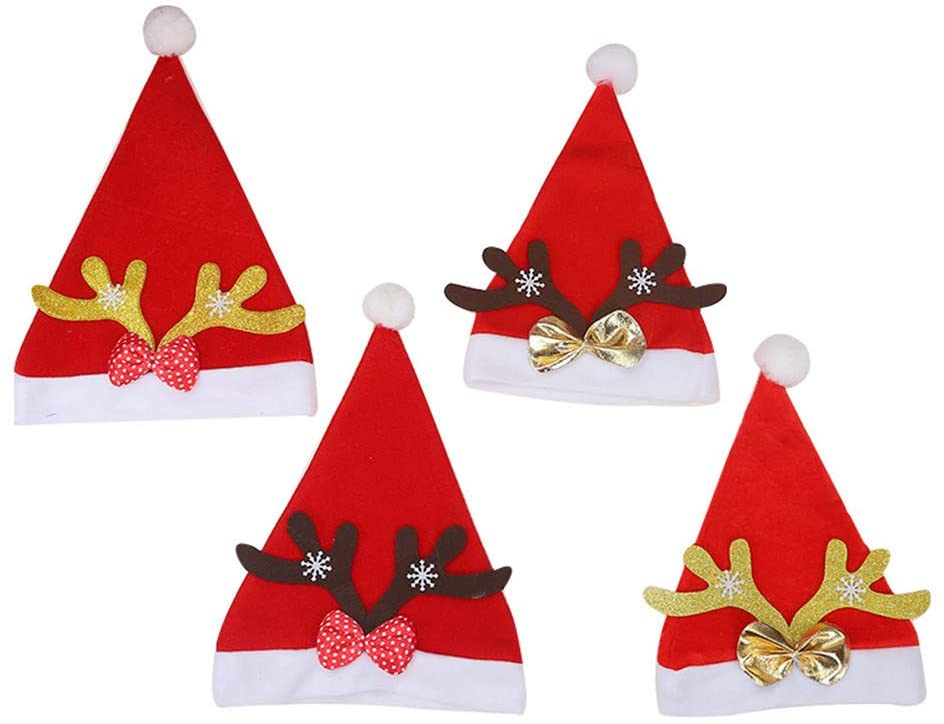 MITOWERMI Christmas Hat, Santa Hat, Xmas Holiday Hat for Adults and Kids, Unisex Christmas Elf Hat for Christmas New Year Festive Holiday Party Supplies