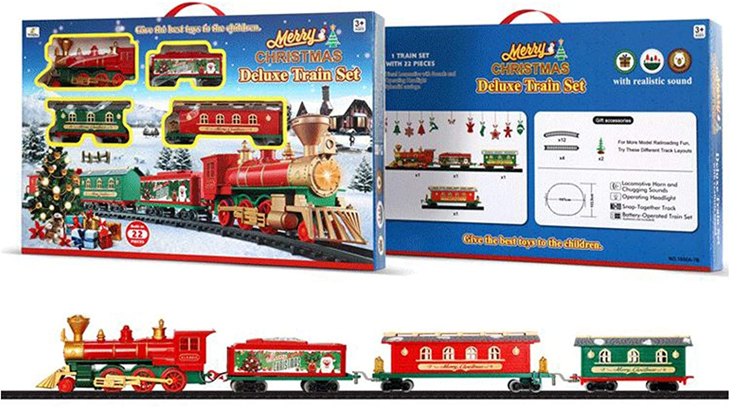 Fullfun Christmas Train Set Electric Railway Train Toy with Realistic Sound and Light 2 AA Battery Operated Include Carriages and Tracks Racing Road for Kids Xmas Train Decorations (B)