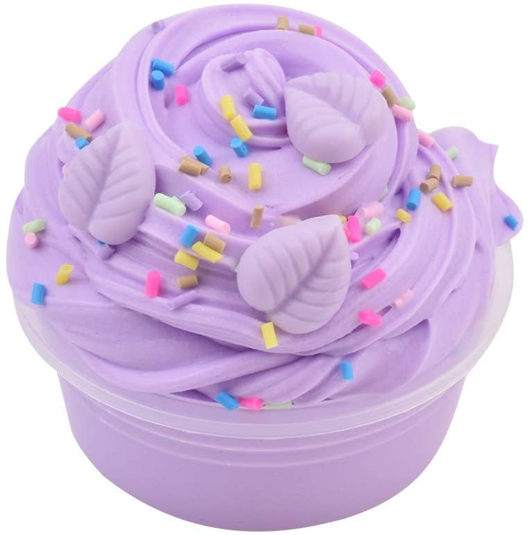 Fluffy Slime, Cloud Cotton Mud Soft Fluffy Non-Sticky Foaming Slime with Leaf Stitch Stress Relief Funny Toy Party Favor Gift for Kids Children Adult
