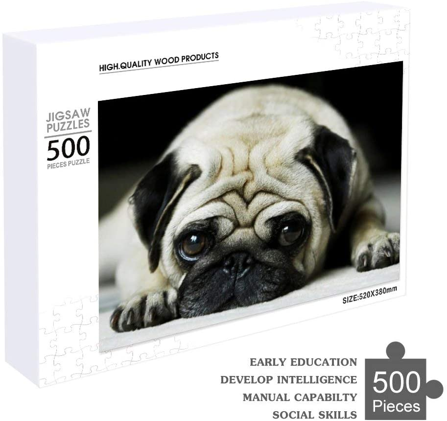 NiYoung Wooden Jigsaw Puzzle Set, 500 Pieces Puzzles Set, Fine Motor Skill Early Learning Preschool Educational Gift Game Kids Toddlers, Cute Pug