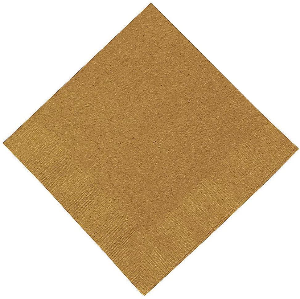 Metallic Gold Beverage Napkins - 50 Pieces - Party Supplies
