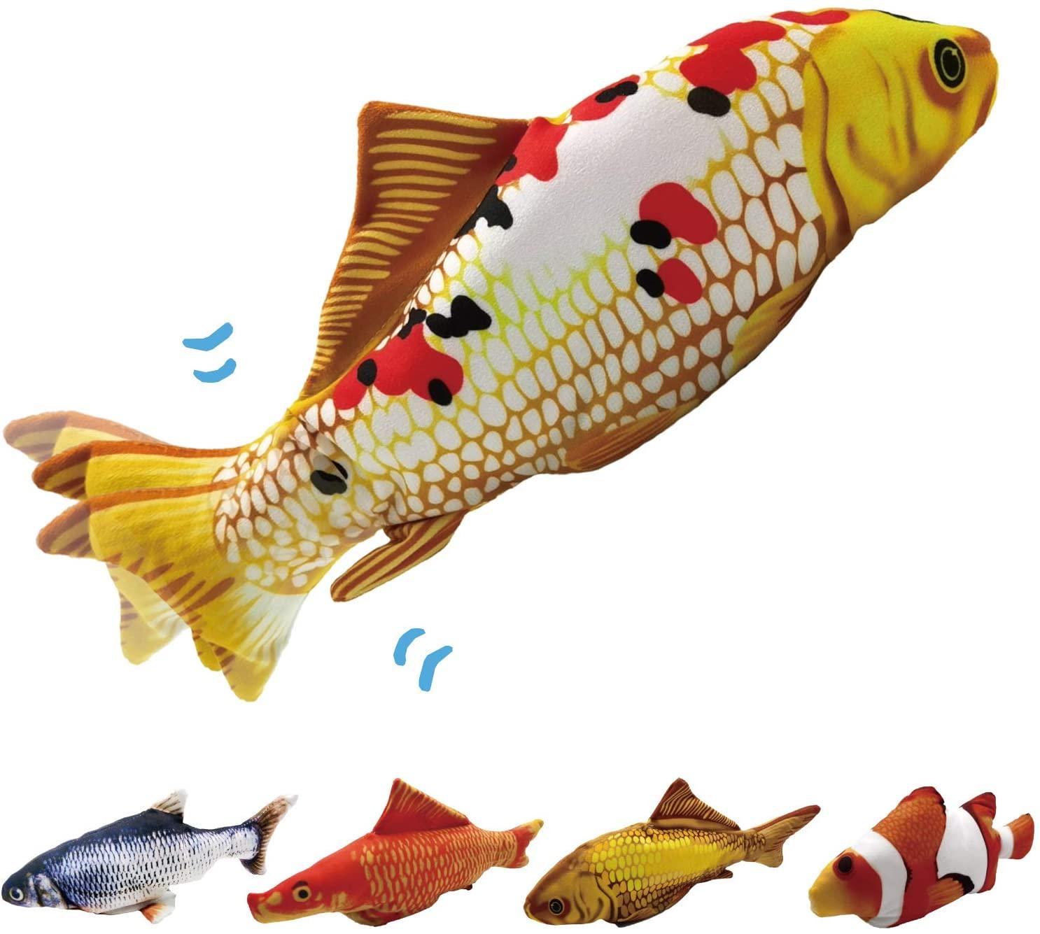 Toydaze Electronic Moving Fish Motion-Activated Plush Interactive Toys for Kids, Funny Self-Flopping Fish Stuffed Animal, Automatic Realistic Wagging Fishy Plushie Toy, KOI Fish, Yamato Nishiki Type