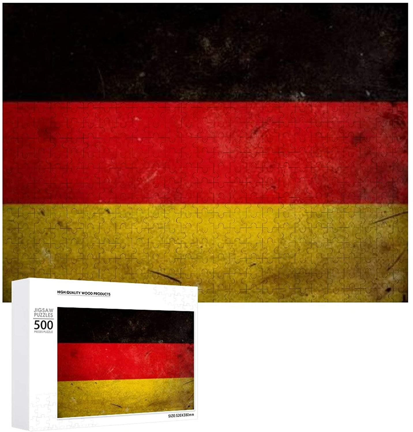 The Flag of Germany on Old and Vintage Grunge Texture Wooden Puzzle 500 Pieces Jigsaw Puzzle for Adults Kids Large Puzzle Game Toys Gift Christmas Holiday Present