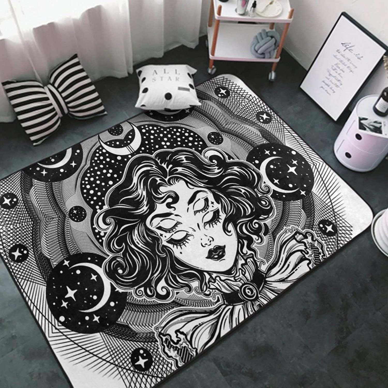 Area Rug Premium Non-Slip Area Carpet White-Halloween Moon witch8 Rug Doormat for Girls Bedroom, Play Room, Nursery, Playroom Area Rugs