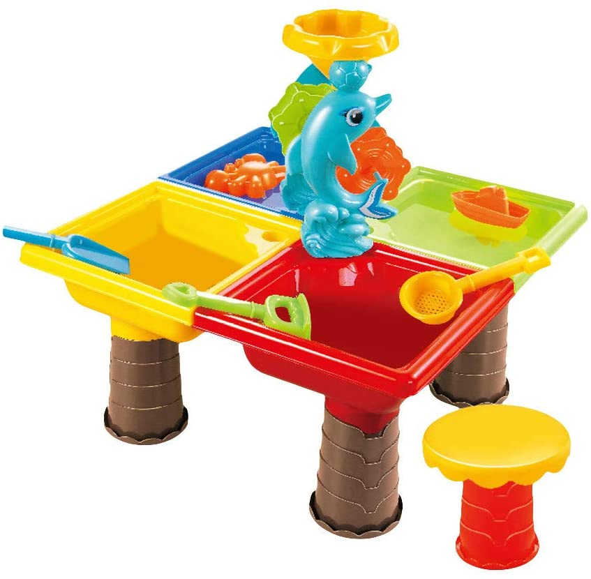 Aconka Sand & Water Table Rain Showers Splash Pond Water Table Outdoor Garden Sandbox Set Play Table Kids Summer Beach Toy for Toddlers Kids