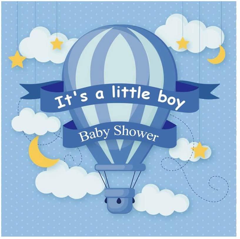 OFILA Boys Baby Shower Backdrop 6x6ft Hot Air Balloon Photos Background Cartoon Moon Stars Shoots Boys Baby Shower Party Decoration Digital Studio Props