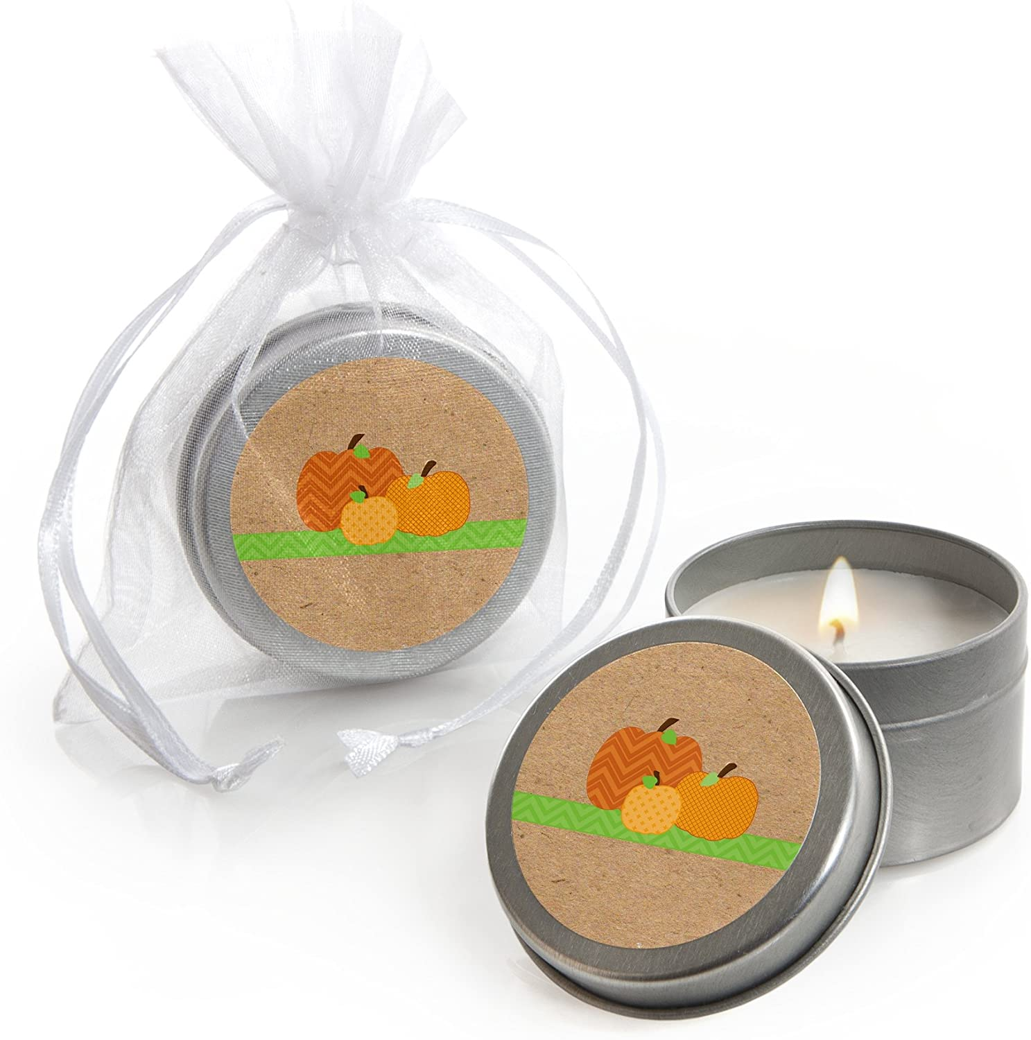 Big Dot of Happiness Pumpkin Patch - Candle Tin Fall, Halloween or Thanksgiving Party Favors - Set of 12