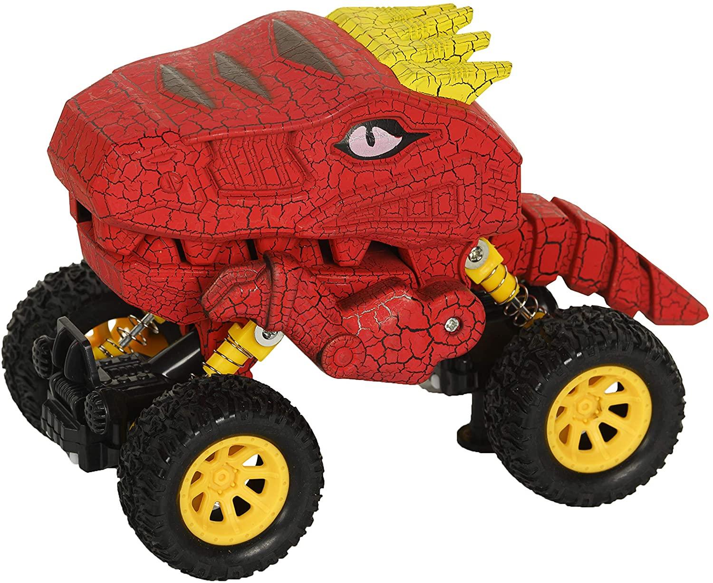 Aeromax Dino-Faur Pull Back Dinosaur Truck, Red with Yellow Accent (PBDB-B)