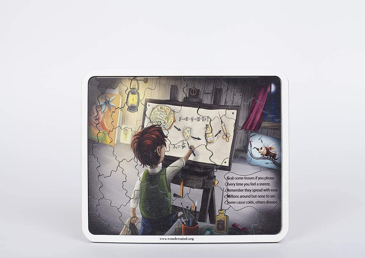 Wooden Jigsaw Puzzles for Kids. Louis Pasteur. 37pcs Ages 4-8 Years Old STEM
