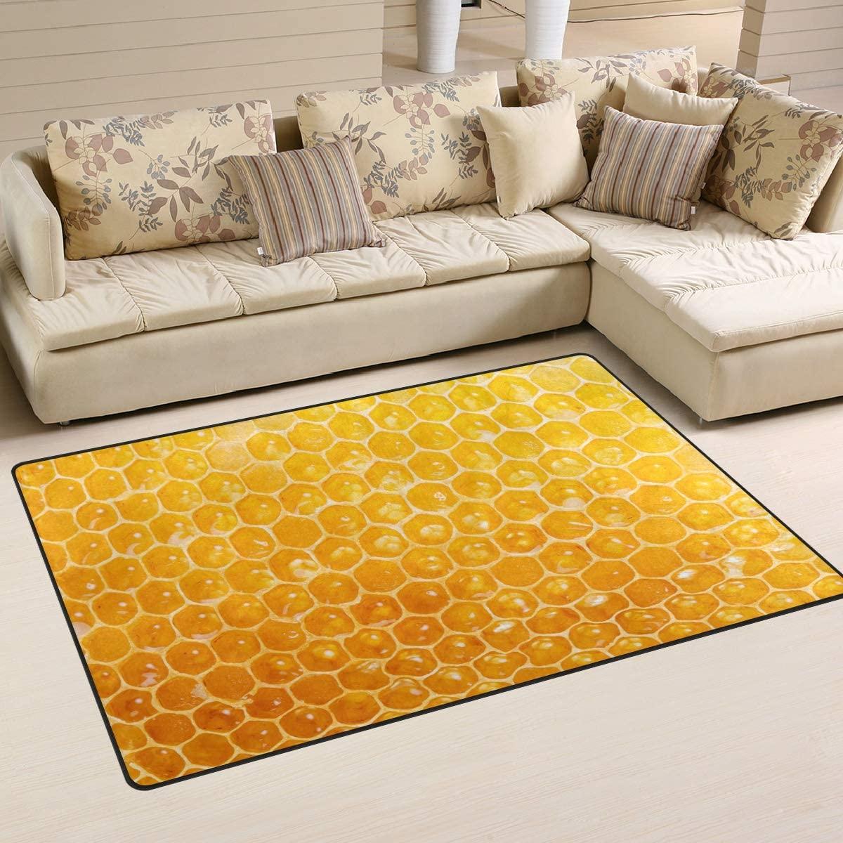 ALAZA Children Area Rug,Sweet Honeycomb Floor Rug Non-Slip Doormat for Living Dining Dorm Room Bedroom Decor 31x20 Inch