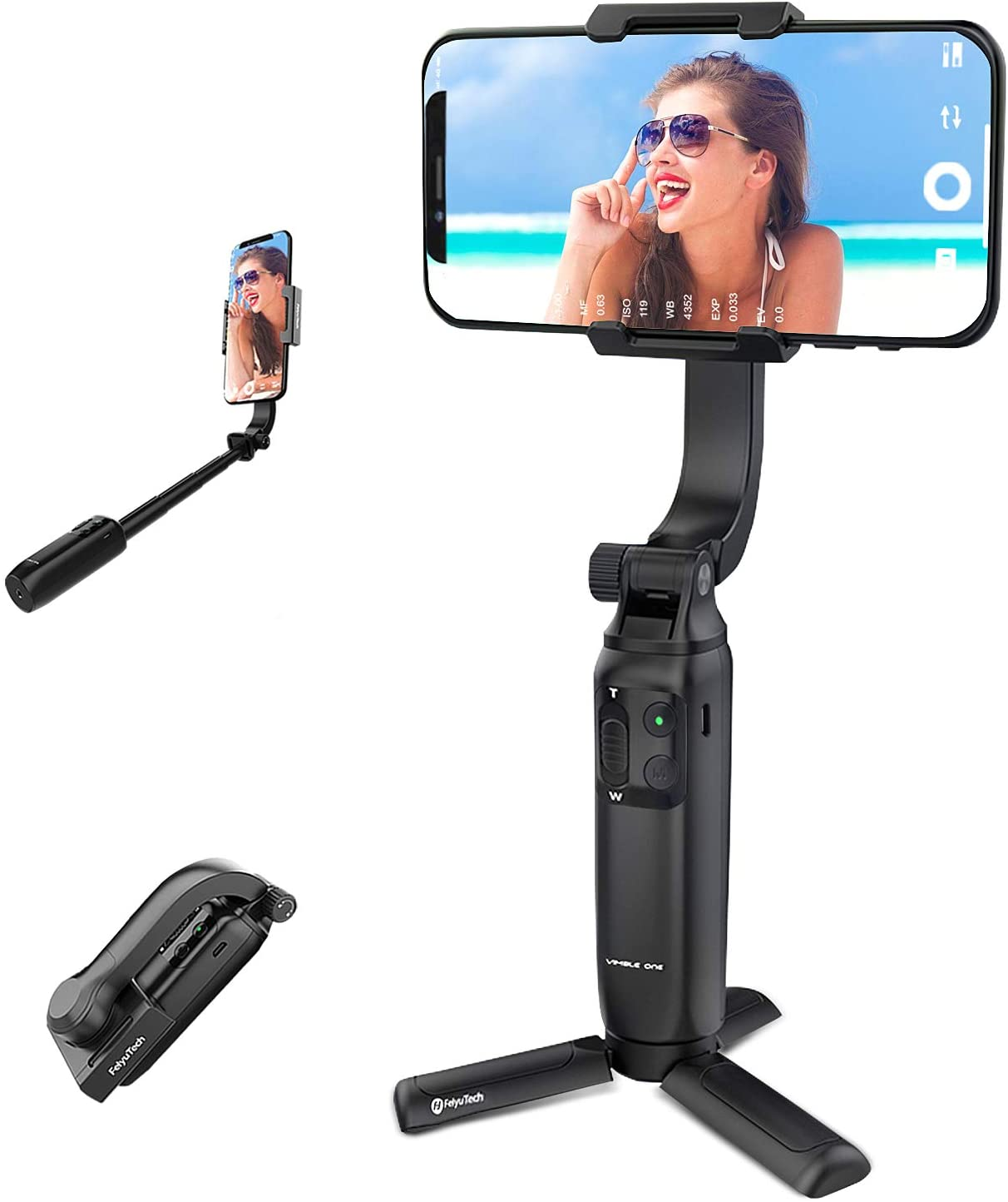 Phone Gimbal Stabilizer, FeiyuTech Vimble One - The Lightweight Foldable and Extensible Gimbal for iOS and Android Smartphones, with Gasture Control by Feiyu On App.