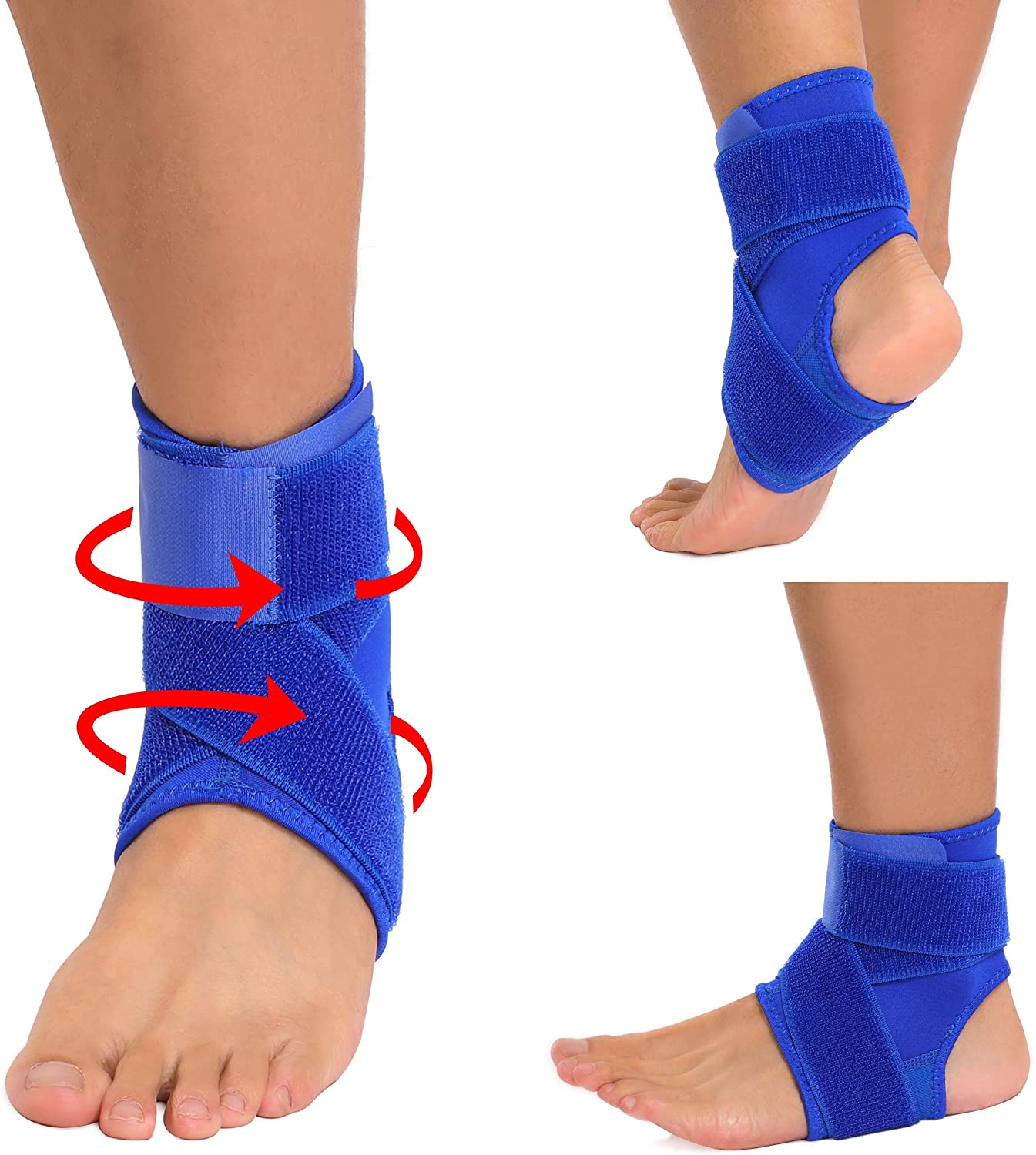 Hopgo Ankle Brace for Women Men, Foot Sleeve Ankle Support Adjustable Compression Sports Wraps Guard for Running Basketball Volleyball Soccer Royal Blue Size L