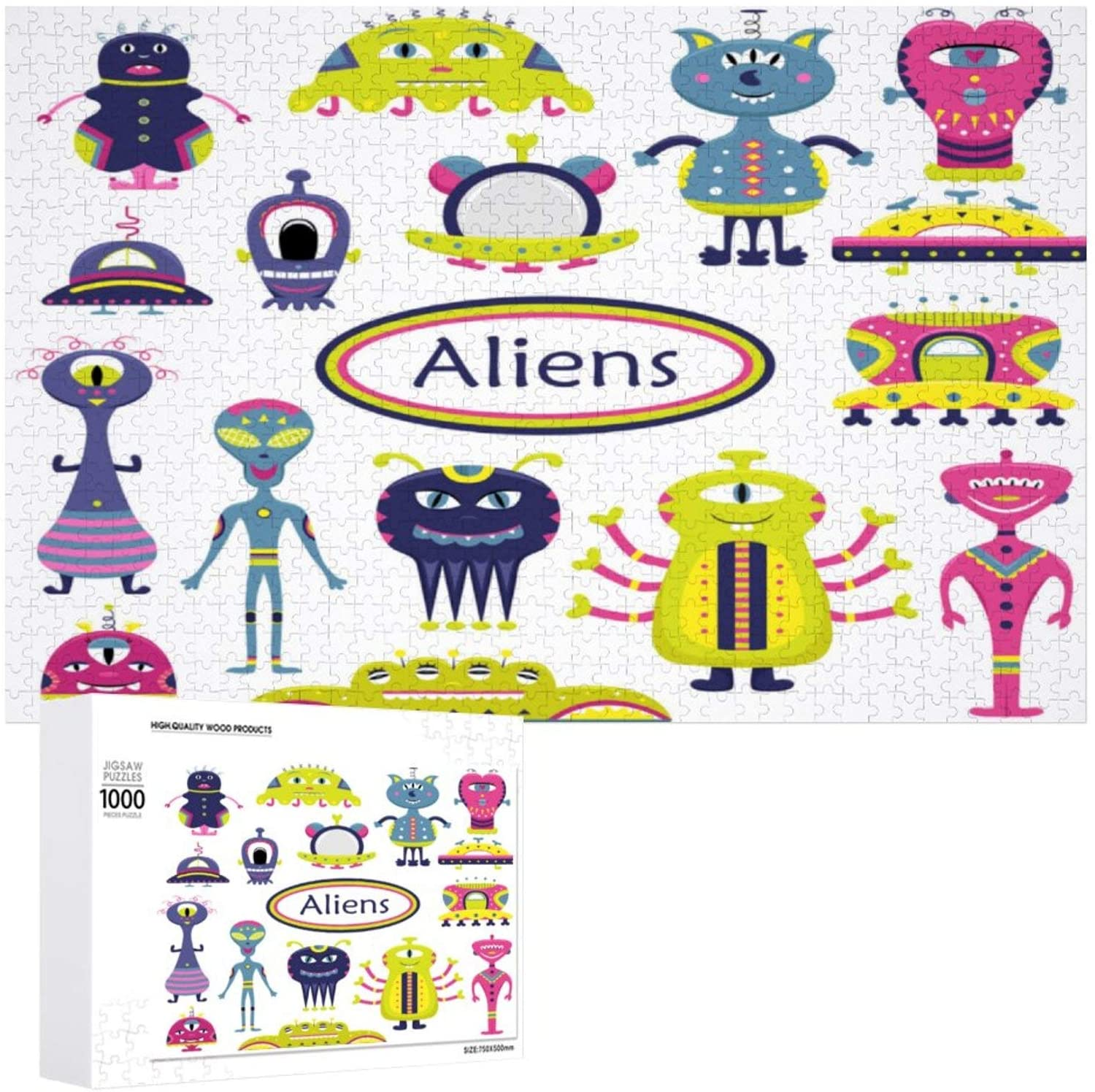 The Cartoon Set with Flat Aliens Funny Characters Wooden Puzzle 1000 Pieces Jigsaw Puzzle for Adults Kids Large Puzzle Game Toys Gift Christmas Holiday Present