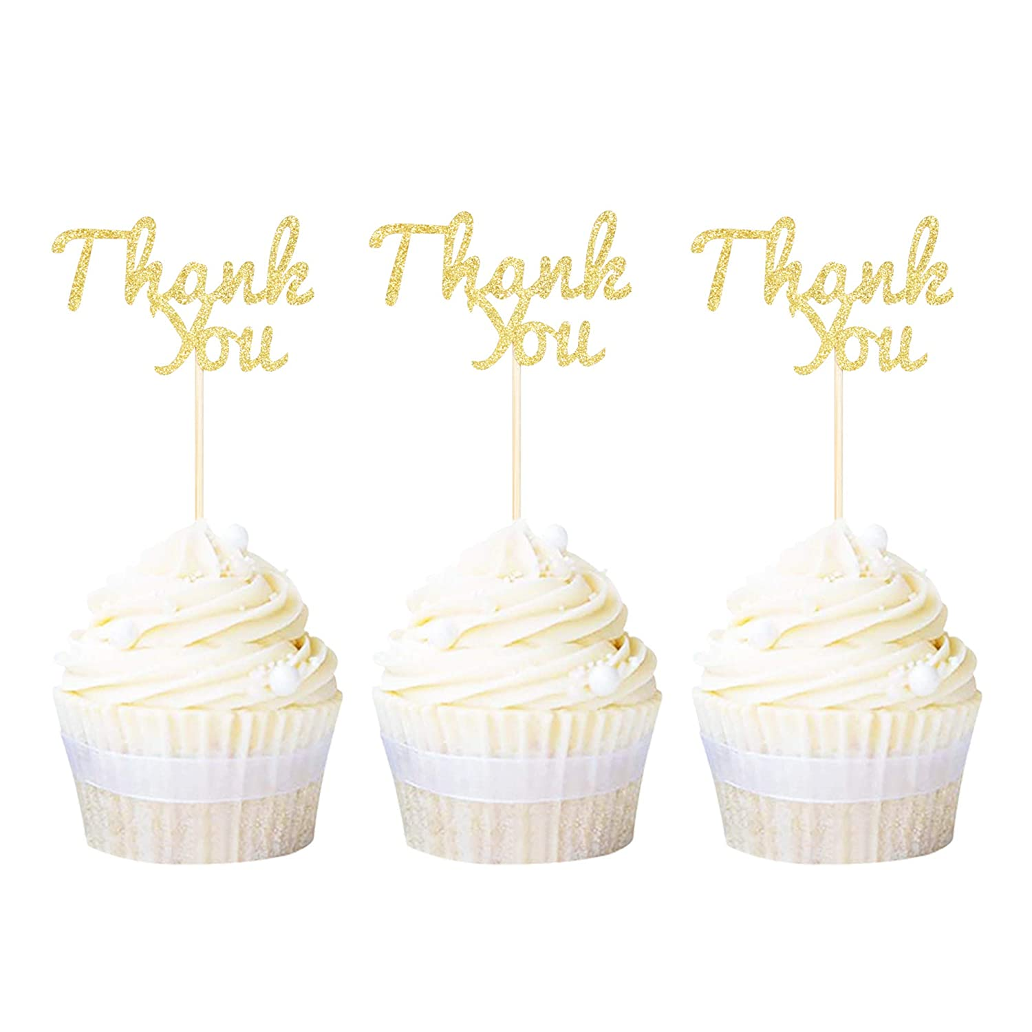 Ercadio 24 Pack Gold Glitter Letter Thank You Cupcake Toppers Thanksgiving Cupcake Picks Baby Shower Kids Birthday Party Cake Decorations…