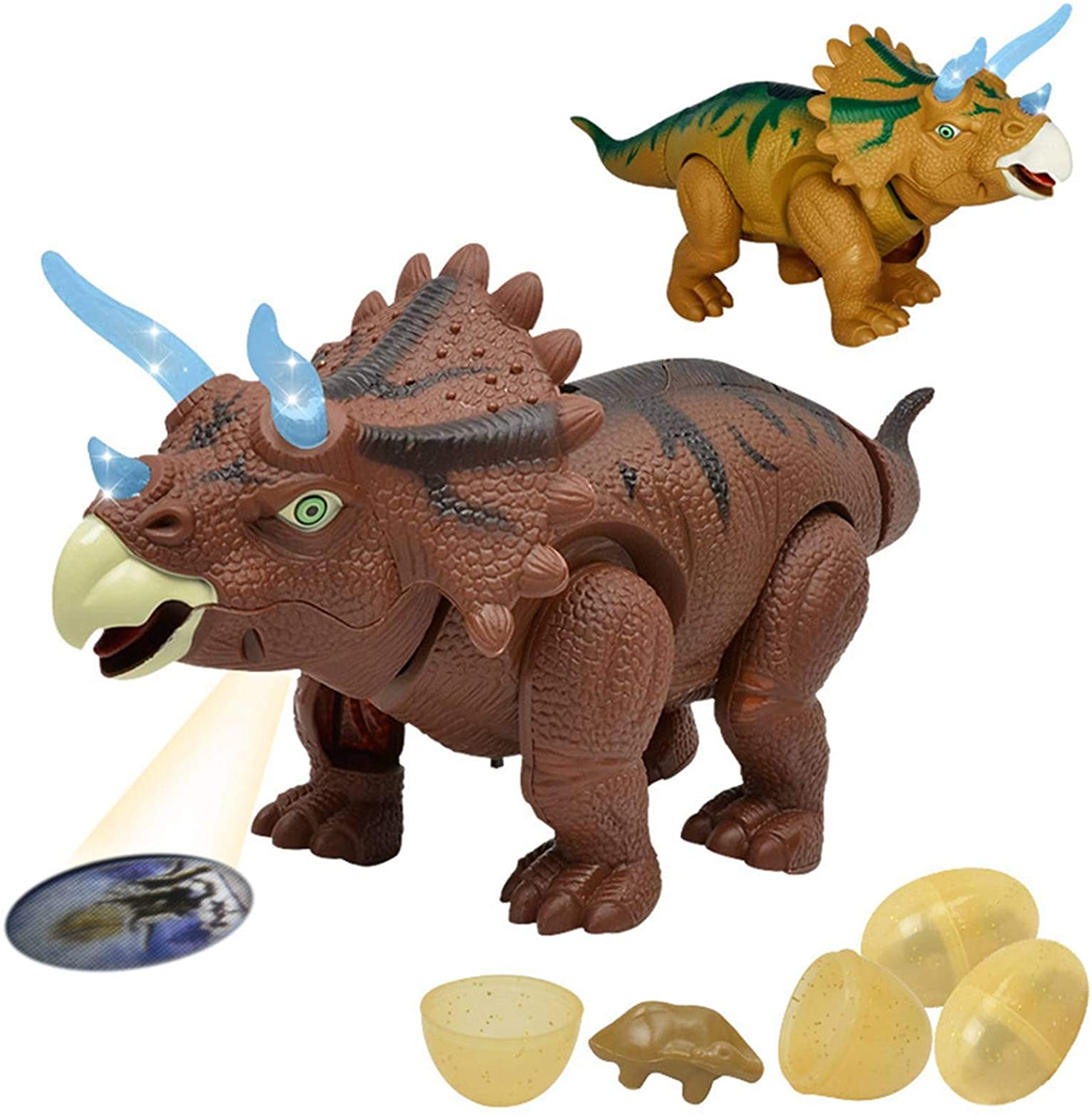 VASTAIR Electronic Walking Dinosaur Lay Eggs Electric Walk Dino Laying Eggs T-Rex Toy LED Light Up Walking Realistic Dinosaur Projection Lights Gift Ideas for Kids Boys Girls(#2)