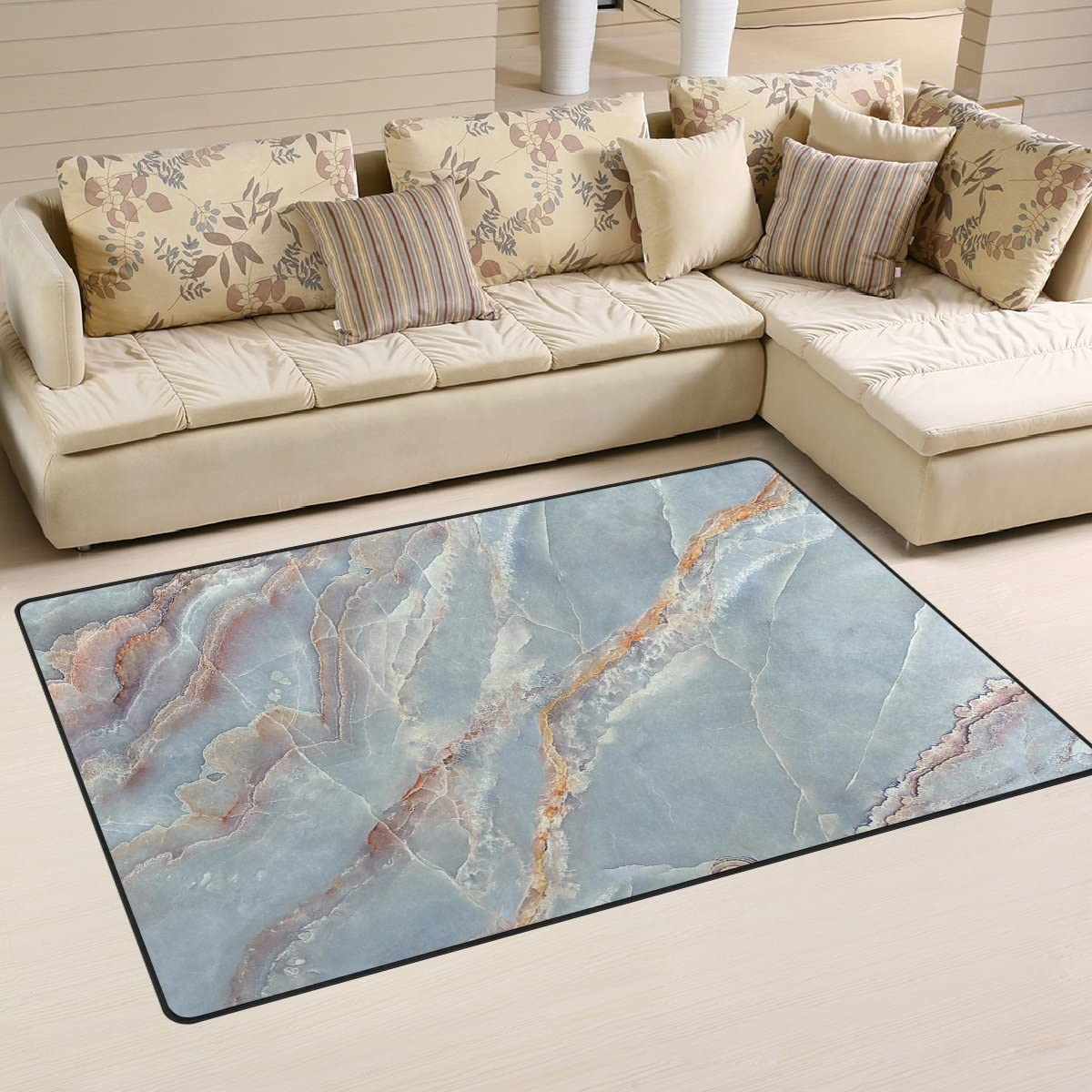 WellLee Area Rug 5'x3',Colorful Marble Blue Milk Floor Rug Non-Slip Doormat for Living Dining Dorm Room Bedroom Decor