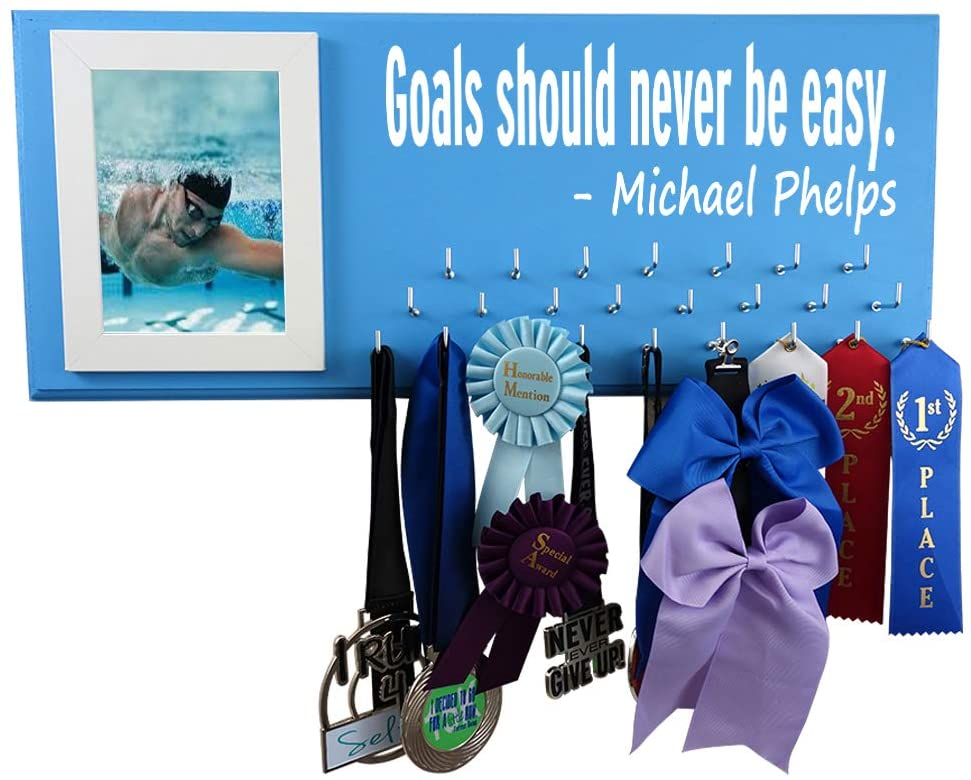 RunningontheWall Swimming Medals Ribbons Display Kids, Swimming Gifts for Teens Goals Should Never BE Easy -Michael Phelps Swimmer Gifts, Swimming Award Display
