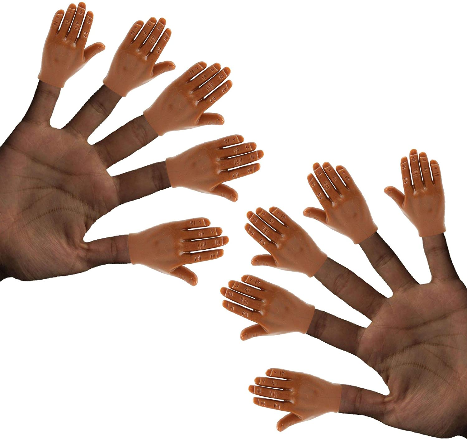 Daily Portable Dark Skin Tone Tiny Hands (High Five) 10 Pack- Flat Hand Style Mini Hand Puppet - 5 Left & 5 Right Hands
