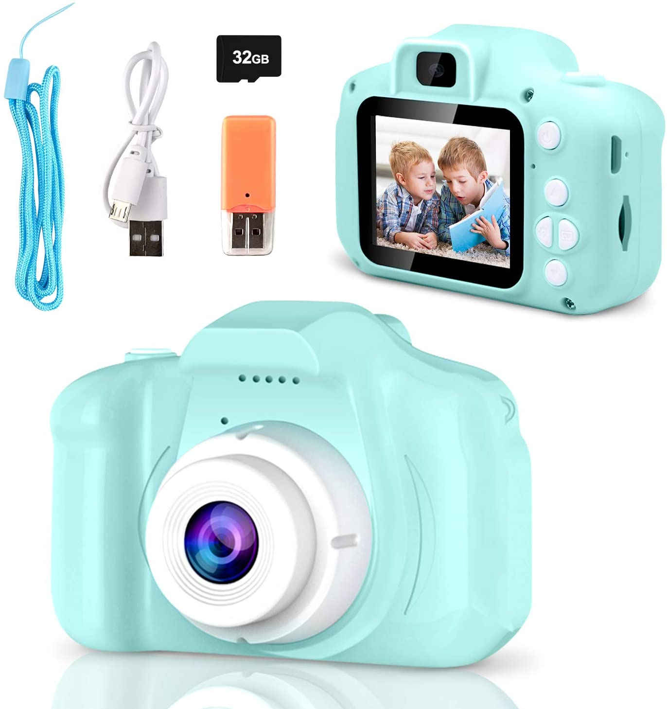 Upgrade Kids Camera, Toddler Camera Kids Selfie Camera with 32GB SD Card and Card Reader USB 2.0 D, HD Digital Video Cameras for Toddler Fantastic Gift for Boys Girls Age 3-12 Toy Camera (Green)