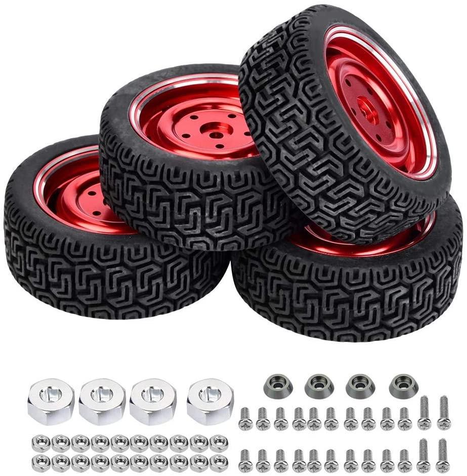 Dilwe RC Truck Car Tire, 4pcs Rubber Wheel Rim Tire Tyre for WPL B14 B24 B16 C14 C24 RC Truck Car Accessory Parts(WPL1649R)