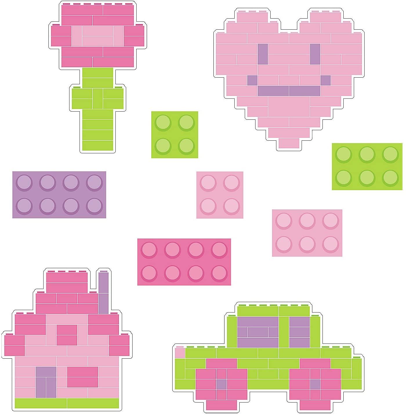 Fun Express - Girl Color Brick Cutouts for Birthday - Party Decor - Wall Decor - Cutouts - Birthday - 10 Pieces