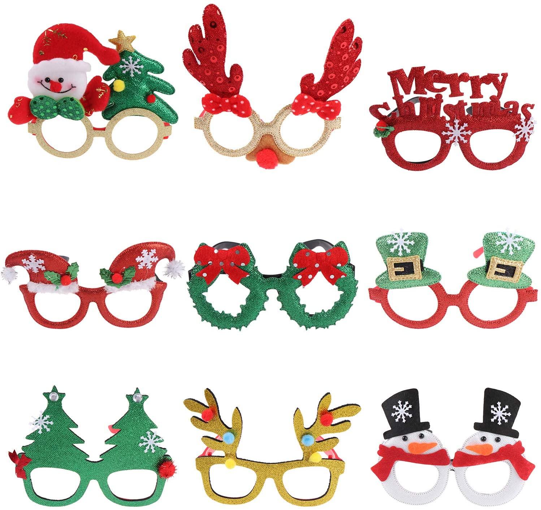 9 Pack Christmas Glasses Frames Glitter Christmas Decoration Costume Eyeglasses Xmas Creative Eyewear