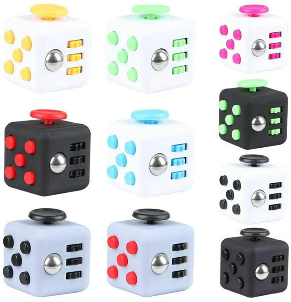 Fidget Cube,Magic Fidget Cube Anxiety Stress Relief Focus 6-Side Black Calm Toy Gifts Random