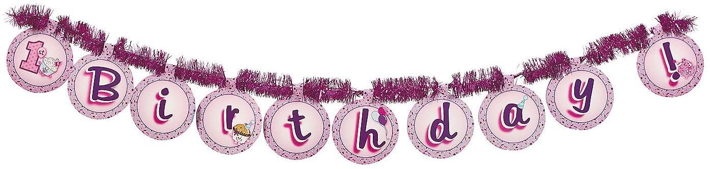 Fun Express - 1st Cupcake Tinsel Banner for Birthday - Party Decor - Hanging Decor - Garland - Birthday - 1 Piece