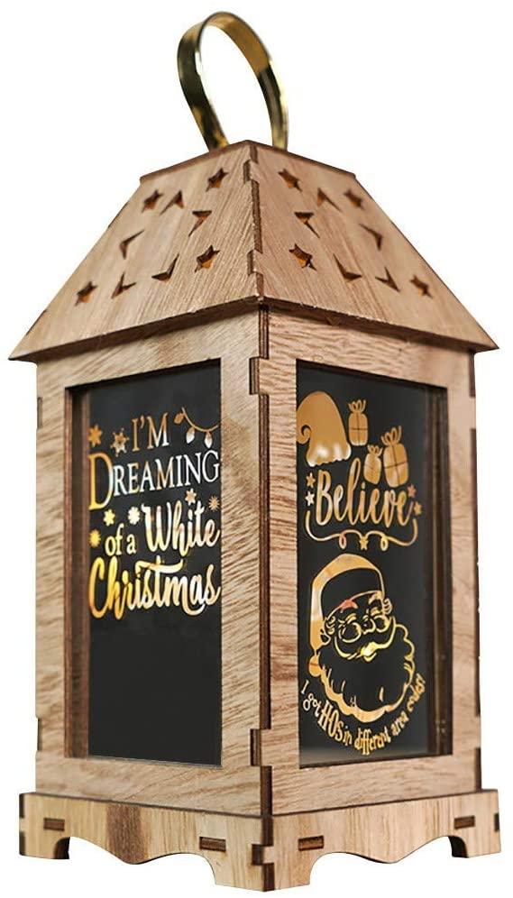 Toianshetim Christmas Wooden Wind Portable Lantern Light,Led Luminous Pattern Lantern ,Christmas Creative Decoration Portable Lantern,Home Outdoor Decoration