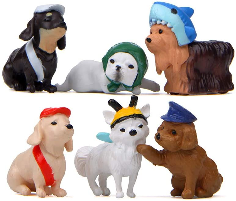 LW 6 Pcs Cute Puppy Miniature Figurine Toys Figurines Playset, Cake Toppers, Cake Decoration