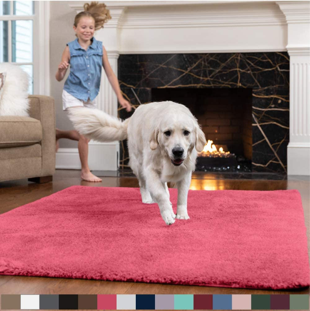 GORILLA GRIP Original Faux-Chinchilla Area Rug, 5x8 Feet, Soft and Cozy High Pile Washable Kids Carpet, Modern Rugs for Floor, Luxury Shag Carpets for Home, Nursery, Bed and Living Room, Hot Pink