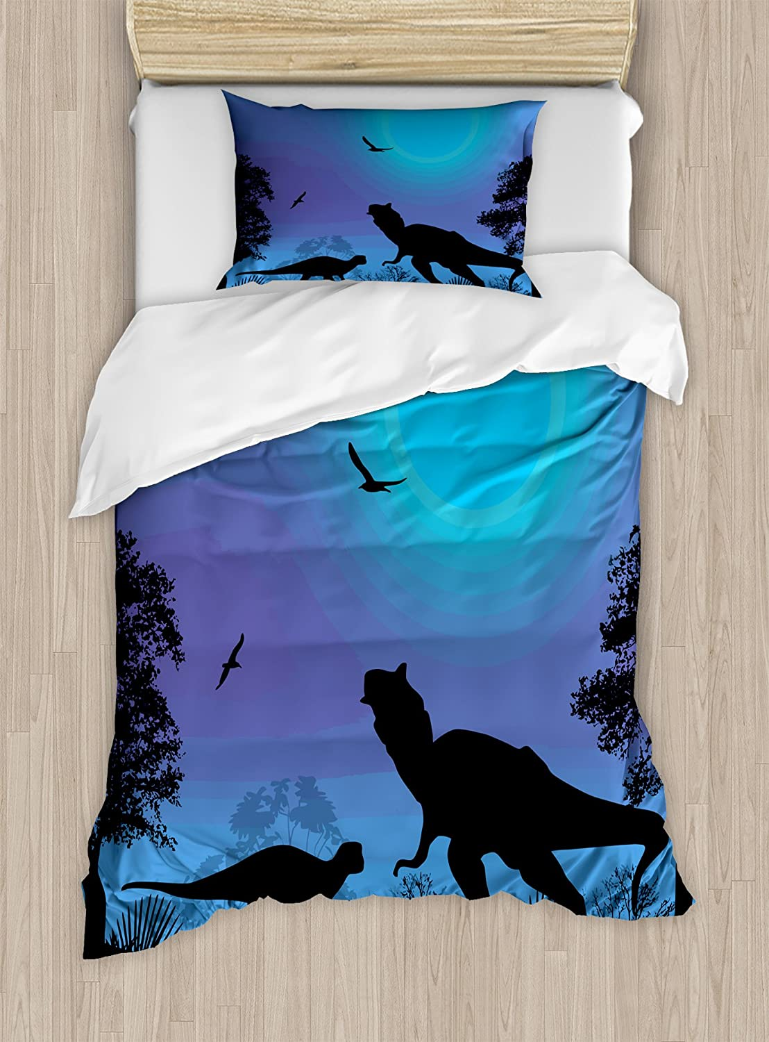 Lunarable Dinosaur Duvet Cover Set, Roaming Dinosaurs at Night with Deep Blue Sky Prehistoric Rural Landscape, Decorative 2 Piece Bedding Set with 1 Pillow Sham, Twin Size, Black Lilac