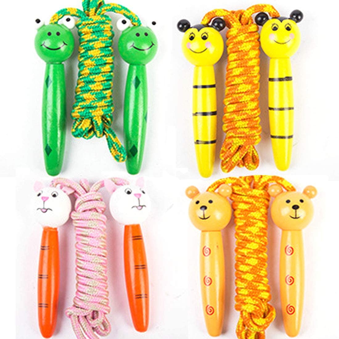 LiLiy 4 Pcs,Creative Children's Cartoon Animal Striped Wooden Cotton Rope Skipping Jumping, Colorful Adjustable Frog bee Bear Rabbit Children Sports Tool,Length 78.74 inch