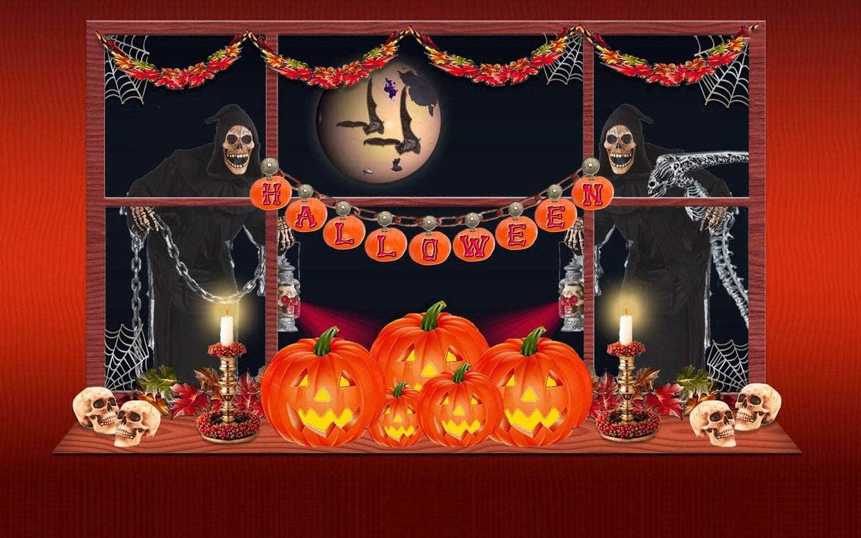 GKrepps Jigsaw Puzzle 500 Pieces-Halloween Pumpkin Moonlight Ghosts Jigsaw Puzzle for Adults Teens Kids Puzzle Game Decompression Toy Gift