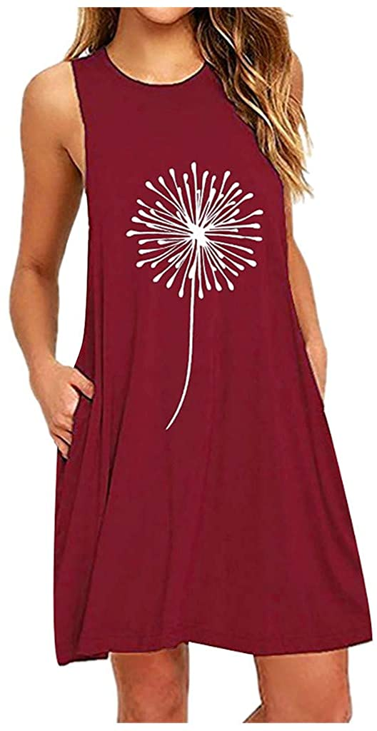 Women Summer Daisy Printing Sleeveless A-Line Plus Size Dresses with Pockets