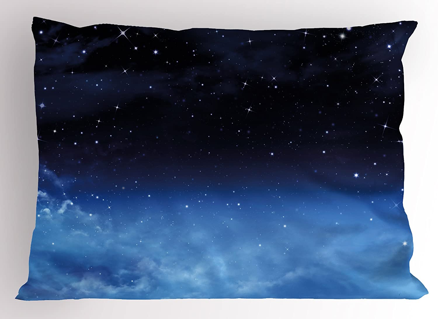 Lunarable Night Sky Pillow Sham, Ombre Colored Nebula Space Clouds and Dot Like Stars Image, Decorative Standard Queen Size Printed Pillowcase, 30