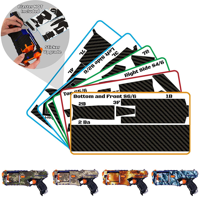 Blastr Wrapz - Blaster NOT Included -Sticker Decals Intended for Elite N Strike Strongarm (1-Pack) Custom Toy Blaster Adhesive Vinyl Skin Upgrade Mod Gear; Kids, Teens, & Adults (Carbon Fiber)