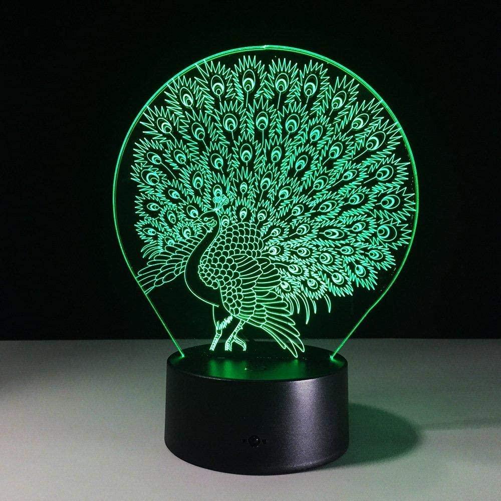 dferh 7 Color 3D Night Light 3D Peacock Home Decoration lamp Atmosphere Lava lamp 7 Color Change Illusion LED Nightlight Peafowl Splendid Tail Children Gift Gift