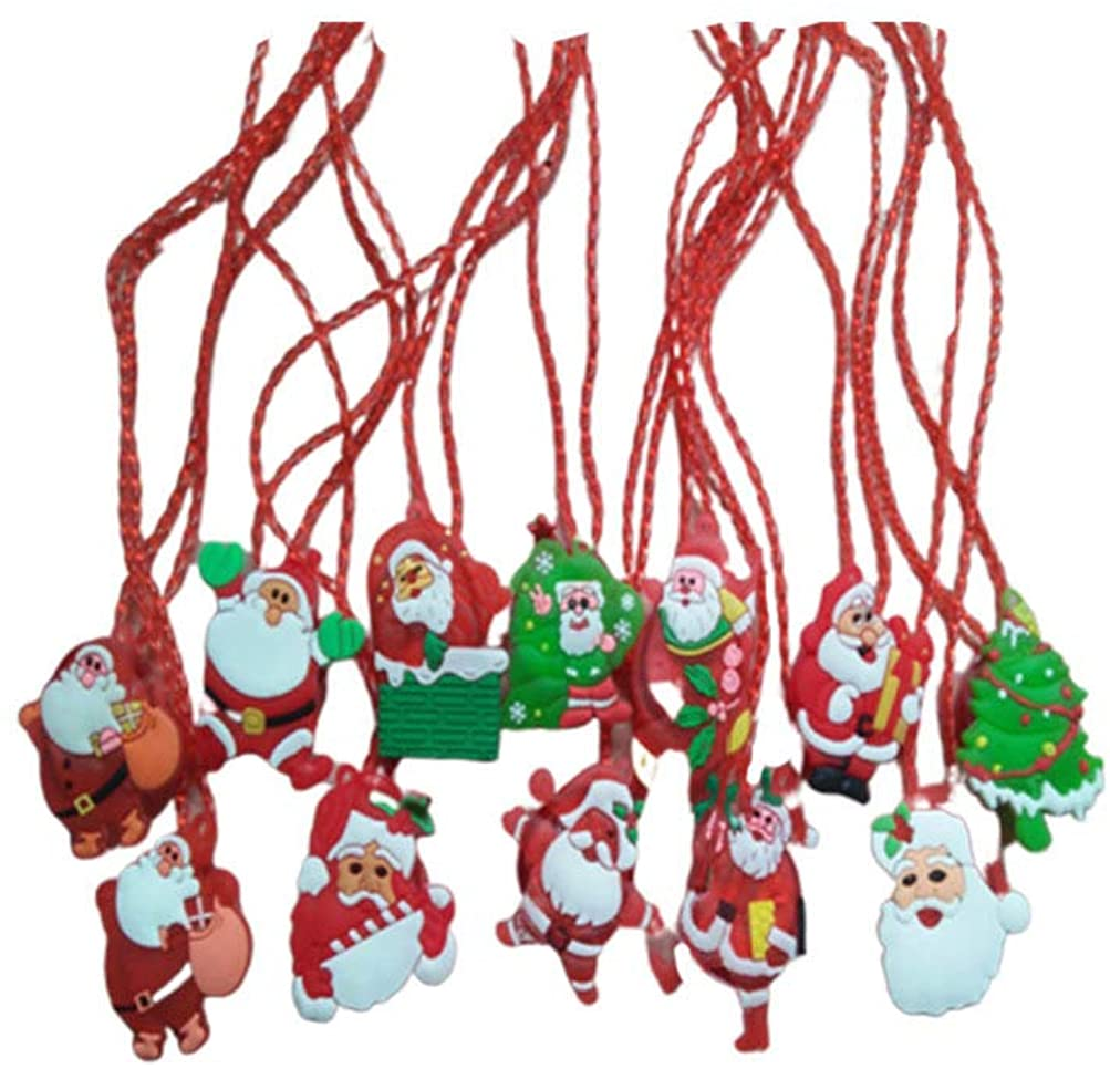 Toyvian 12pcs Light Up Christmas Necklace Funny Party Necklace Xmas Party Favor Toys Gifts Christmas Party Bag Fillers Random Pattern