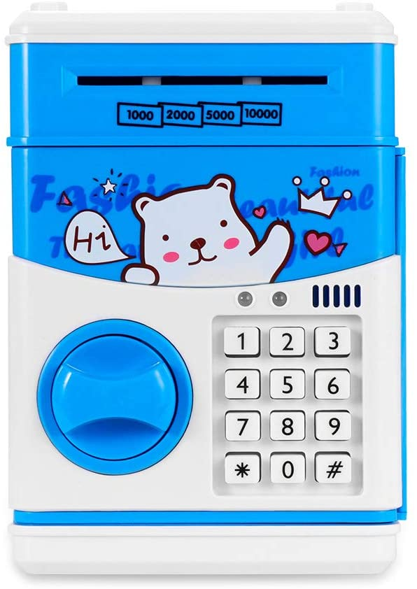 Ourleeme Piggy Bank Checkout Money Automatic Box ATM Money Lockbox with Pass Safes Gift for Kids Children Mini Lock Box